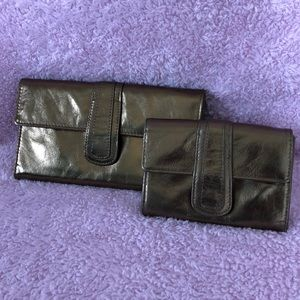 Genuine gold leather clutch and coin purse set